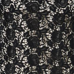 Alice + Olivia Black Clover Lace Open-Back Dress M
