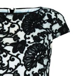 Alice + Olivia Connie Black and White Embroidered Top XS