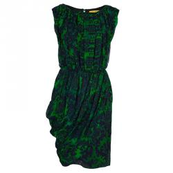 Alice + Olivia Beckett Green and Blue Printed Silk Gathered Dress S