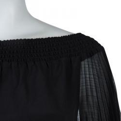 Alice + Olivia Black Silk Smocked Pleated Sleeve Detail Off Shoulder Blouse S