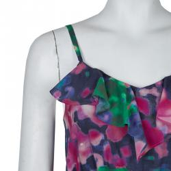 Alice + Olivia Multicolor Print Ruffle Detail Sleeveless Dress XS
