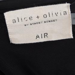 Alice + Olivia Black Knit Overlap Detail Maxi Skirt S