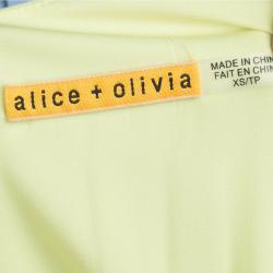 Alice + Olivia Neon Green Gathered Waist Sleevless Dress XS