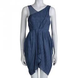 Alice + Olivia Blue Silk Asymmetric Draped Sleeveless Dress XS