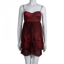 فستان آليس + أوليفيا باستييه حريرأحمر ديرابيه XS