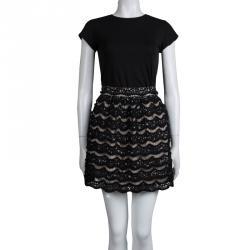 Alice + Olivia Black Sequin Embellished Lace Overlay Skirt S