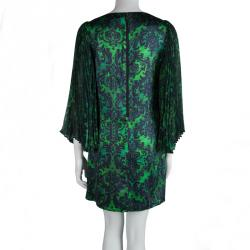 Alice + Olivia Green Printed Silk Plisse Sleeve Shift Dress S