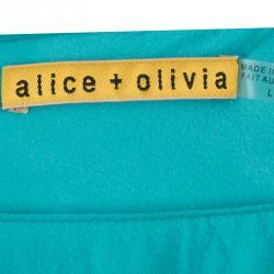 فستان أليس + أوليفيا حرير أزرق تركواز بلا أكمام بحزام L