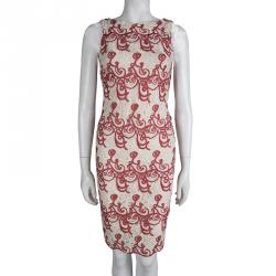 Alice + Olivia Cream Lace Overlay Sleeveless Dress S