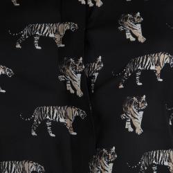 قميص آليس + اوليفيا بنقوش نمر حرير أسود شفاف قصيرXS