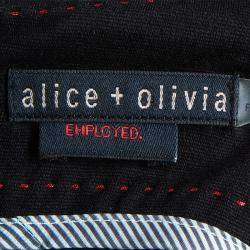 Alice + Olivia Amanda Black Long Sleeve Peplum Dress XS