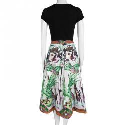 Alice + Olivia Multicolor Printed Cotton High Waist Midi Skirt M