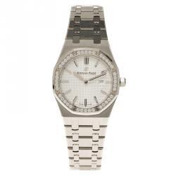 Audemars Piguet Silver Stainless Steel Diamond Royal Oak Women's Wristwatch 33MM