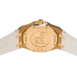 Audemars Piguet White 18K Pink Gold Diamonds Royal Oak Women's Wristwatch 33MM