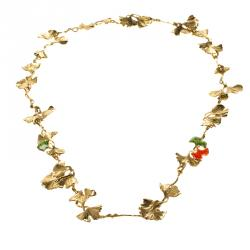 Aurélie Bidermann Tangerine Gold-plated Gingko Leaves Long Necklace