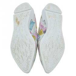 Baldinini Multicolor Abstract Print Leather Pointed Toe Slip On Sneakers Size 37