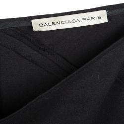 Balenciaga Black Wool Ruffle Bottom Skirt S