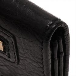 Balenciaga Black Leather Arena Double Card Holder
