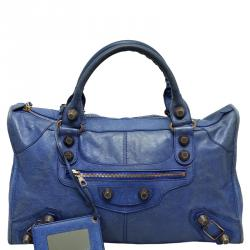 Balenciaga Blue Lambskin Leather GSH Part Time Tote