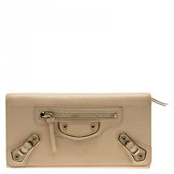 ae7181f0e8 Sold. Balenciaga Praline Leather Classic Continental Wallet