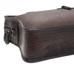 Berluti Taupe Canvas and Leather Script Un Jour Briefcase