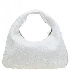 ff333c7b465f Bottega Veneta White Intrecciato Woven Leather Large Fray Belly Veneta Hobo