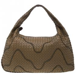 Bottega Veneta Brown Nappa Leather Intrecciato Large Chain Veneta Hobo 8bbd5905fada4