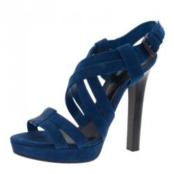 Bottega Veneta Blue Suede Criss Cross Platform Sandals Size 40