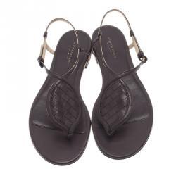 Bottega Veneta Brown Leather Intrecciato Thong Sandals Size 37