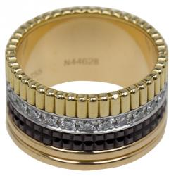 خاتم بوشيرون كواتر كلاسيك كبير الماس أصفر أبيض ووردي مقاس 52