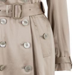Burberry Taupe Silk Long Trench Coat S