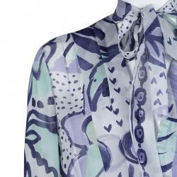 Burberry Prorsum Multicolor Floral Print Silk Long Sleeve Maxi Dress L