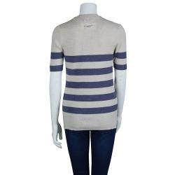 Burberry Brit Beige and Blue Striped Short Sleeve Sweater S