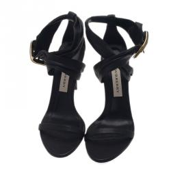Burberry Black Leather Criss Cross Buckle Sandals Size 38.5
