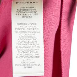 Burberry Pink Contrast Cuff Polo T-shirt S