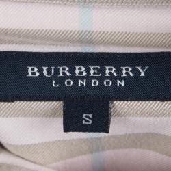 Burberry Pink Nova Check Long Sleeve Button Down Shirt S
