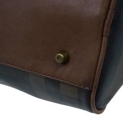 Burberry Brown Nova Check Leather Boston Bag