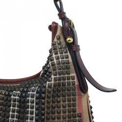 Burberry Brown Nova Check Canvas and Leather Studded Hoxton Hobo