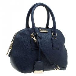 Burberry Navy Blue Grain Leather Small Orchard Bowling Bag