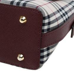 Burberry Beige/Brown Haymarket Check Canvas and Leather Shoulder Bag