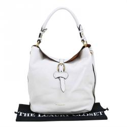 Burberry White Leather Buckle Detail Hobo