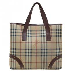 Burberry Beige Brown Haymarket Check Canvas and Leather Tote 6dde3828026aa