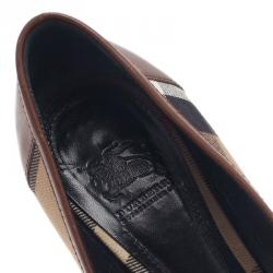 Burberry Brown Leather Novacheck Pointed Toe Buckle Pumps Size 39