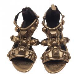 Burberry Gold Mega Stud Gladiator Sandals Size 37