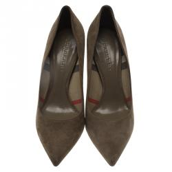 Burberry Grey Suede Mawdesley Pointed Toe Pumps Size 40