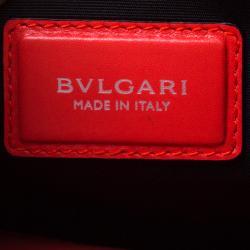 Bvlgari Red Leather Large Serpenti Forever Ruffled Shoulder Bag