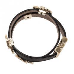 Bvlgari Bvlgari Leather Double Coiled Black Bracelet