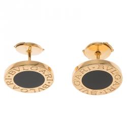 Bvlgari Onyx Yellow Gold Stud Earrings