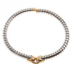 Bvlgari Tubogas Heart Flex Steel and Yellow Gold Bracelet Size 16