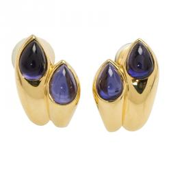 Bvlgari Vintage Amethyst Yellow Gold Clip-on Earrings